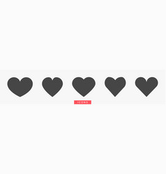 black heart icons set on gray background hearts vector image