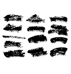 black ink grunge brush set strokes on white vector image