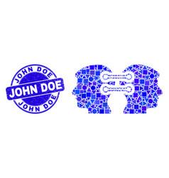 Blue distress john doe seal and head links vector