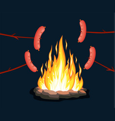 Bonfire with grill sausage vector