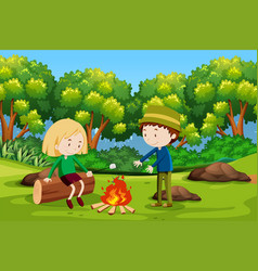 boy and girl camping at forest vector image