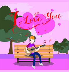 Boy playing guitar on a chair for valentines day vector