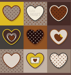 Brown and khaki cute hearts emblem pattern set vector