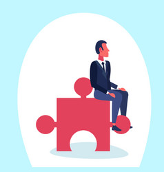 businessman sitting puzzle piece problem solution vector image