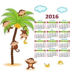 Calendar with monkeys on palm 2016 vector