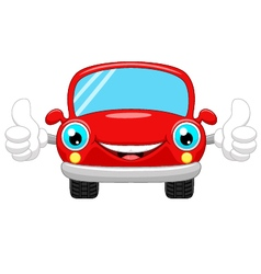 Cartoon car gives thumbs up vector