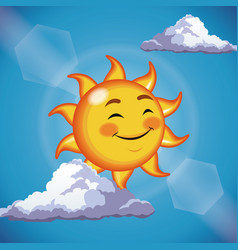 character sun cute face close eyes - cartoon in vector image