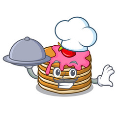 chef with food pancake with strawberry mascot vector image