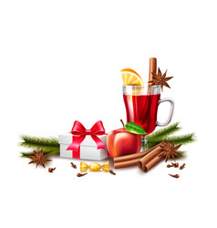 Christmas poster mulled wine present box vector