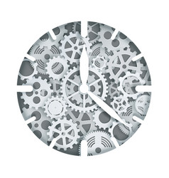 clock mechanism in paper art vector image