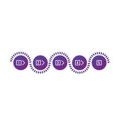 colorful purple gradient circles five steps vector image