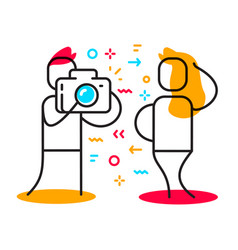 creative of character man taking photo of posing vector image