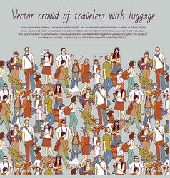 Crowd color travelers with luggage vector
