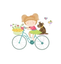 Cute beautiful girl in dress rides a bike vector