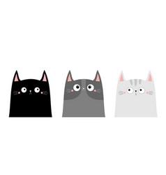 cute black gray cat kitten kitty head silhouette vector image