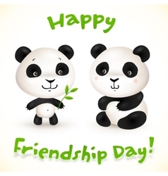 Cute little pandas friends vector image