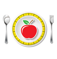 Cutlery with measuring tape and apple vector