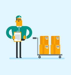Delivery man delivering parcel boxes on trolley vector