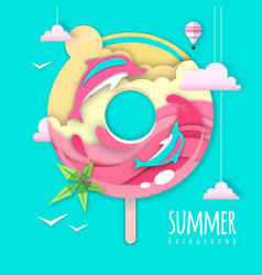 Donut with sea or osean island landscape vector