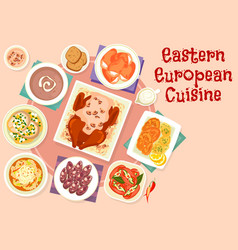 eastern european cuisine festive dishes icon vector image