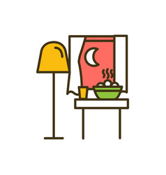 Eating late at night time rgb color icon vector