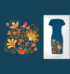embroidery colorful trend floral pattern vector image