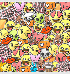 Emoji smiley faces background emoticon stickers vector