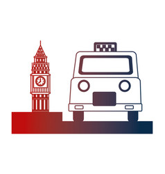 english taxi service and big ben symbol vector image