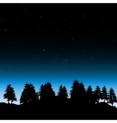 Evening contour black and landscape trees vector