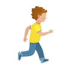 Faceless young boy runs isolated vector