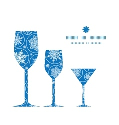 Falling snowflakes three wine glasses silhouettes vector