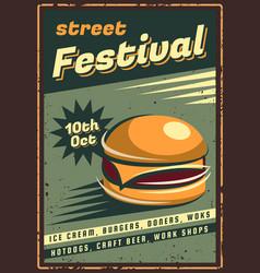 Fast food retro emblem vector