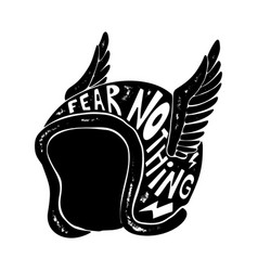 fear nothing hand drawn winged racer helmet vector image