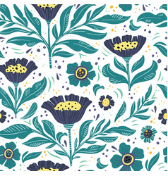floral flat hand drawn seamless color pattern vector image