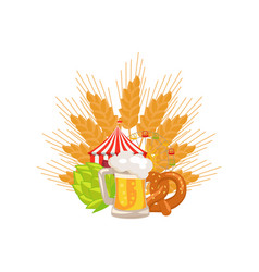 food set and beer on white vector image