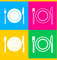 fork knife and plate sign four styles of icon on vector image