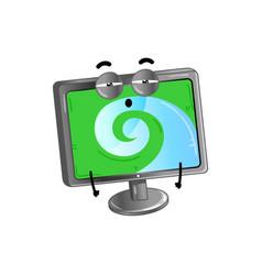 funny lcd monitor cartoon character vector image