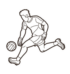 Gaelic football male player outline vector