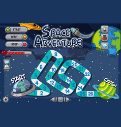 game template with alien flying ufo vector image