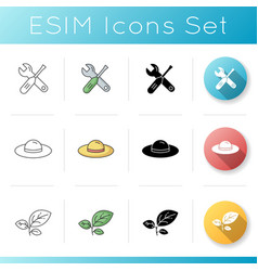 Gardening tools icons set vector