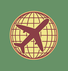 globe and plane travel sign cordovan icon vector image