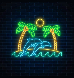 Glowing neon summer sign with palms sun island vector