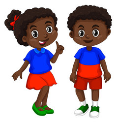 Haiti boy and girl with happy face vector