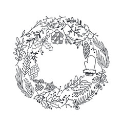 Hand drawn christmas round wreath vector
