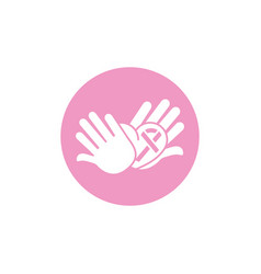 hands heart ribbon breast cancer awareness vector image