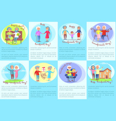 happy grandparents day posters with older people vector image