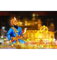 Happy Guru Gobind Singh Jayanti festival for Sikh vector