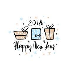 happy new year 2018 background with hand drawn vector image