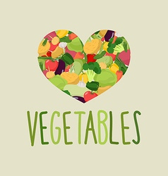 Heart of vegetables I love vegetables Concept of a vector image