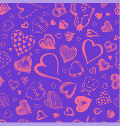 hearts seamless pattern doodle valentine love vector image